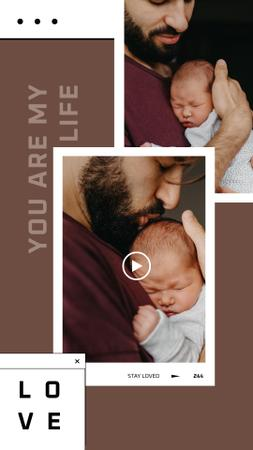 Father holding his Little Baby Instagram Story Modelo de Design