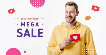 Blog Promotion Ad with Man Holding Heart Icon