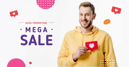 Blog Promotion Ad with Man Holding Heart Icon Facebook AD Modelo de Design