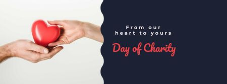 Day of Charity with Hands holding Heart Facebook cover Modelo de Design