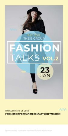 Fashion talks announcement with Stylish Woman Graphic Tasarım Şablonu