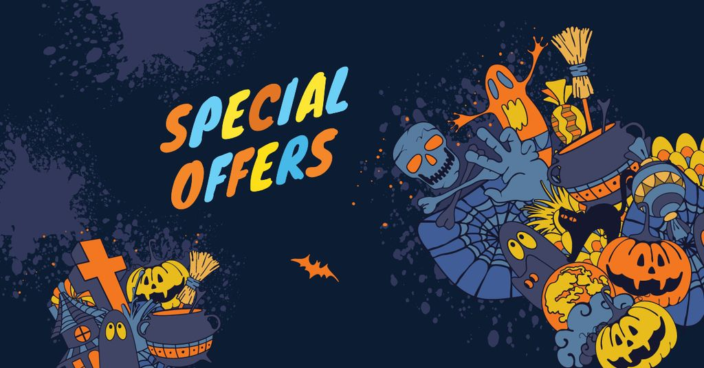 Special Halloween Offer with Cartoon Pumpkins — Crear un diseño