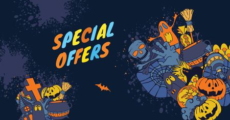 Plantilla de diseño de Special Halloween Offer with Cartoon Pumpkins Facebook AD