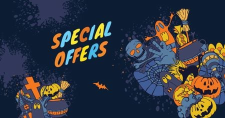 Ontwerpsjabloon van Facebook AD van Special Halloween Offer with Cartoon Pumpkins