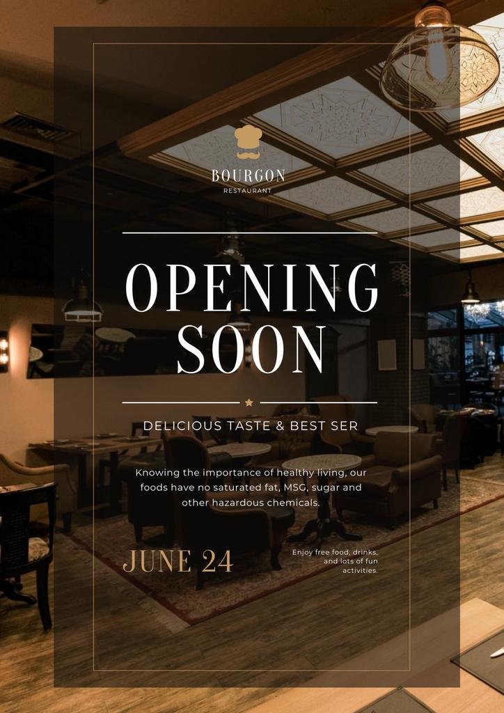 Restaurant Opening Announcement with Classic Interior Poster – шаблон для дизайну