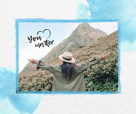 Designvorlage Mental Health Inspiration with Woman in Mountains für Facebook