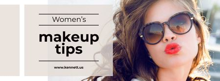 Makeup Tips with Beautiful Young Woman Facebook cover Modelo de Design