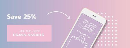 E-commerce discount offer on Phone screen Coupon Modelo de Design