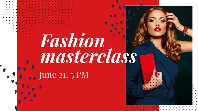 Modèle de visuel Fashion Masterclass Announcement with Elegant Woman - FB event cover