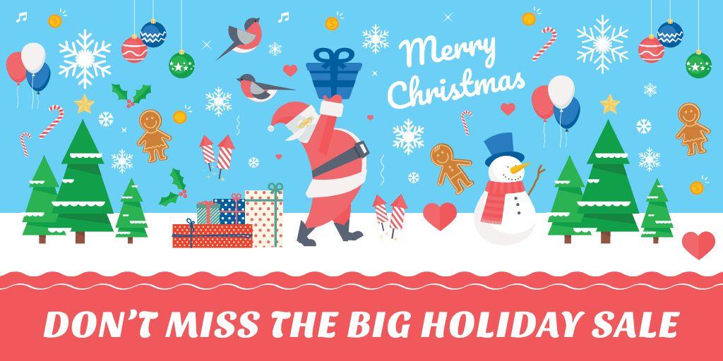 Christmas Holiday Sale with Santa Delivering Gifts - Bir Tasarım Oluşturun