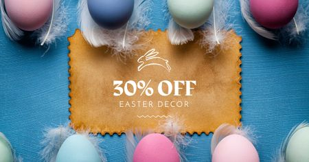 Easter Decor Offer with Colorful Eggs Facebook AD Design Template
