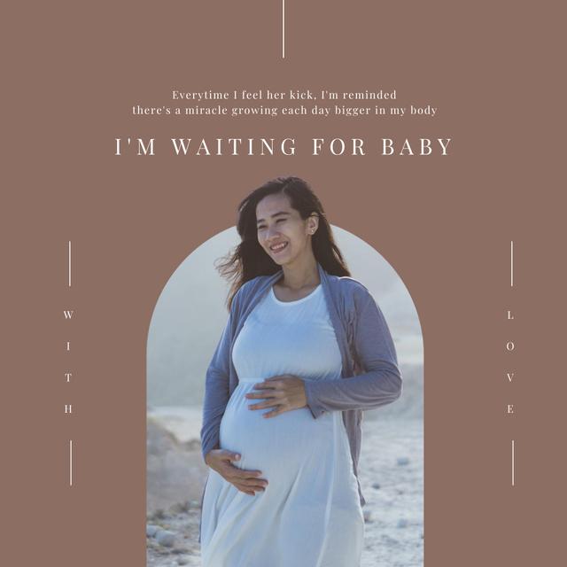 Happy Pregnant Woman on Seacoast Instagram Modelo de Design