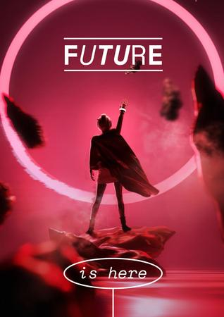 Template di design Innovation Ad with Woman in Superhero Cloak Poster