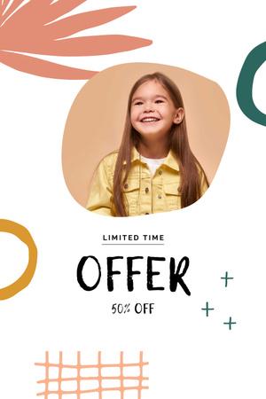 Sale announcement with Smiling Girl Pinterest – шаблон для дизайна