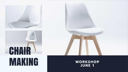 Furniture Store Offer with white minimalistic Chair FB event cover Modelo de Design