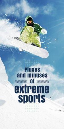 Ontwerpsjabloon van Graphic van Man Riding Snowboard in Snowy Mountains