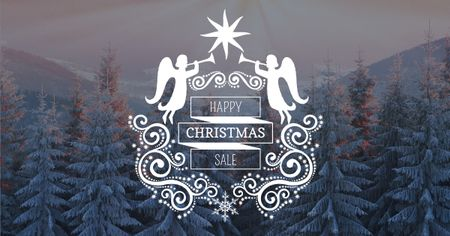 Szablon projektu Christmas Sale with Winter Forest Facebook AD
