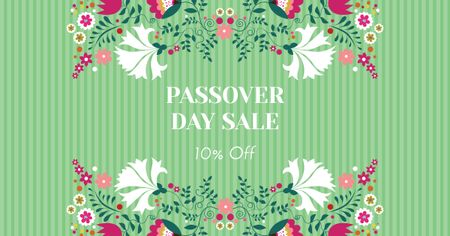 Plantilla de diseño de Passover Day Sale with Flowers Facebook AD