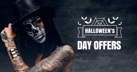 Plantilla de diseño de Halloween Offer with Woman in Scary Makeup Facebook AD