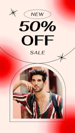 Sale Discount Offer with Feminine Attractive Guy Instagram Story tervezősablon