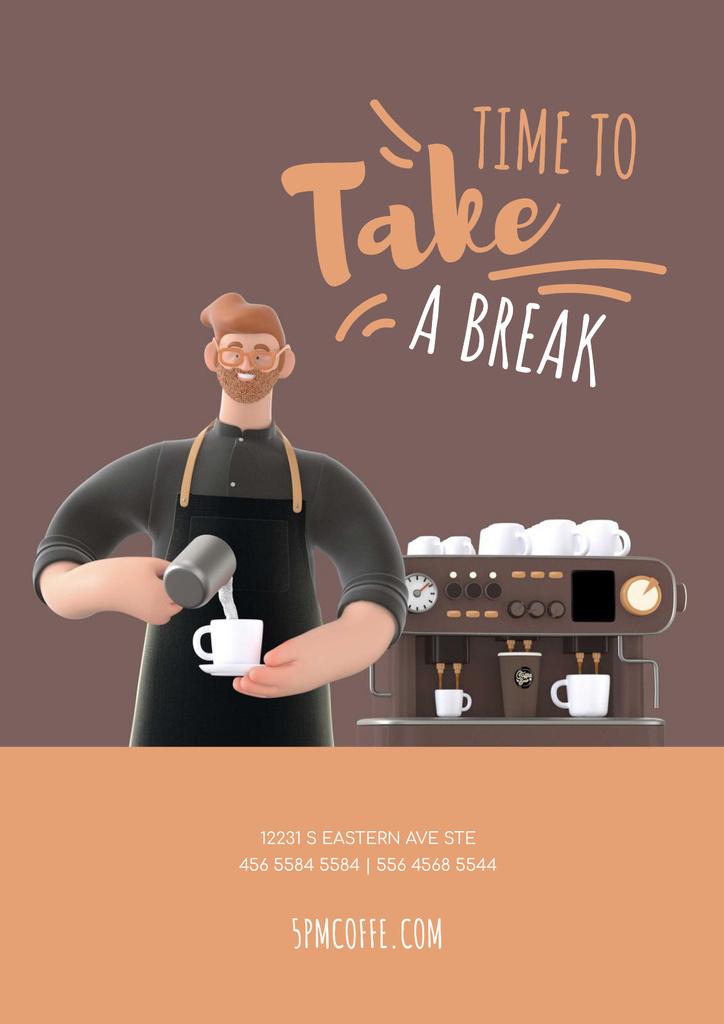Barista Making Coffee by Machine — Создать дизайн