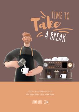 Barista Making Coffee by Machine