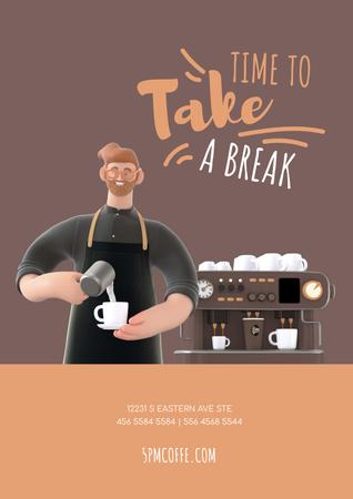 Barista Making Coffee by Machine Poster – шаблон для дизайну