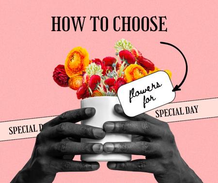 Bouquet of Bright Flowers Facebook Design Template