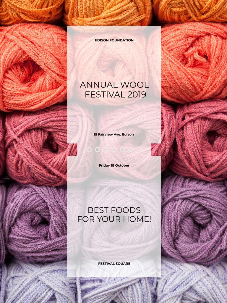 Knitting Festival Wool Yarn Skeins Poster US – шаблон для дизайна