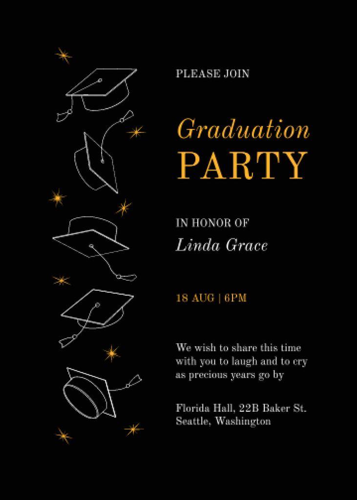 Graduation Party Announcement with Graduators' Hats Invitation – шаблон для дизайну