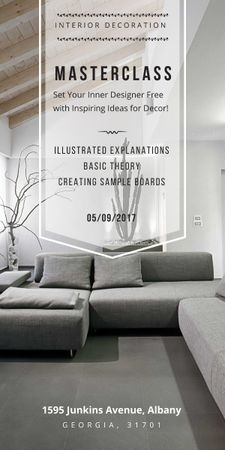 Interior decoration masterclass with Sofa in grey Graphicデザインテンプレート