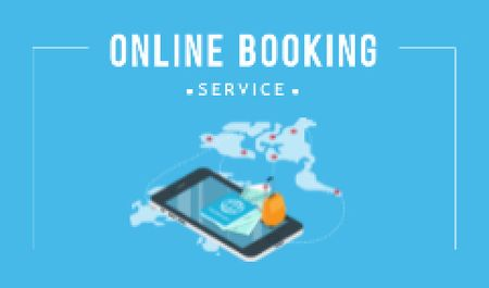 Plantilla de diseño de Online Booking Service with Smartphone and Map Business card