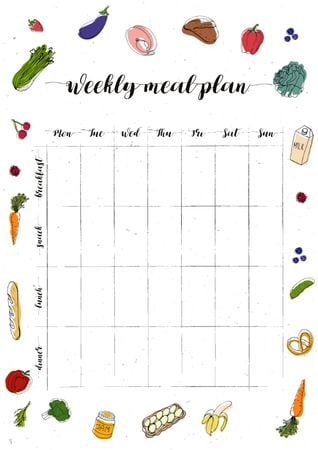 Plantilla de diseño de Weekly Meal Plan with Food illustrations Schedule Planner