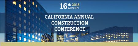 Construction Conference Announcement Modern Glass Buildings Twitter Modelo de Design