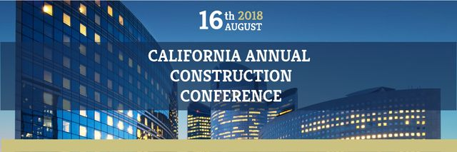 Construction Conference Announcement Modern Glass Buildings Twitter Modelo de Design
