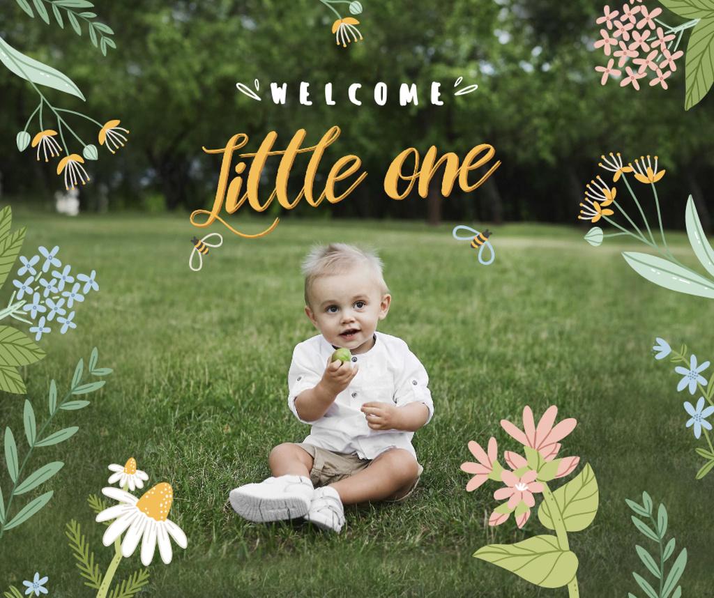 Cute Little Infant sitting on Grass Facebook Modelo de Design