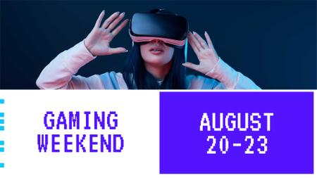 Gaming Weekend Announcement with Girl in Glasses FB event cover Modelo de Design