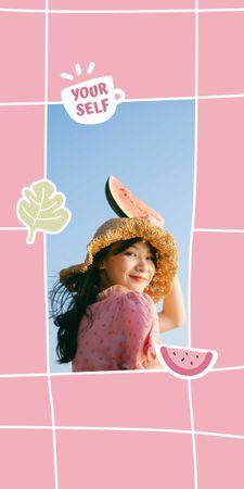 Mental Health Inspiration with Girl holding Watermelon Graphic – шаблон для дизайну