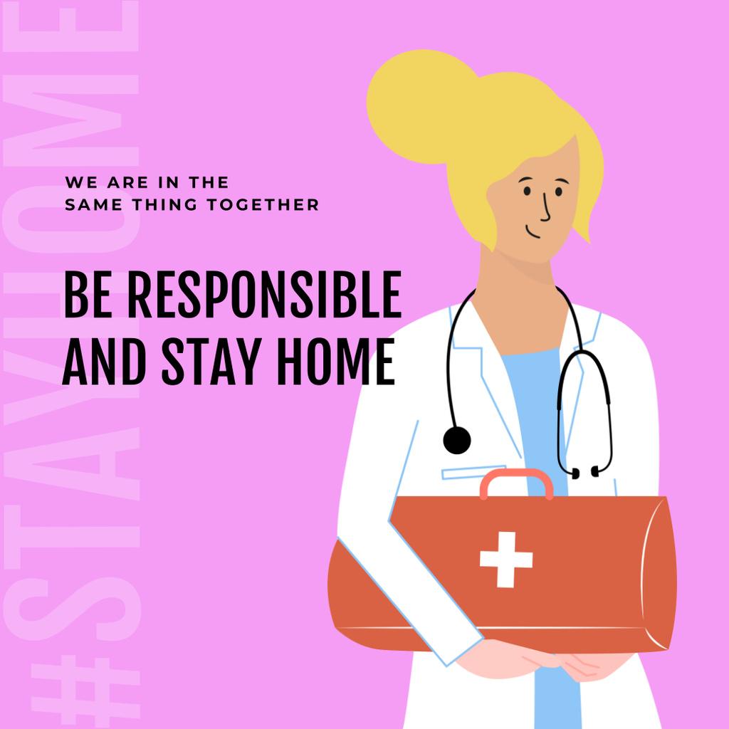 #Stayhome Coronavirus awareness with friendly Doctor Instagram Design Template