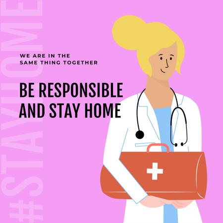 Designvorlage #Stayhome Coronavirus awareness with friendly Doctor für Instagram