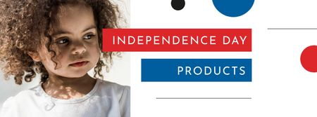 Plantilla de diseño de Independence Day Announcement with Cute Child Facebook cover