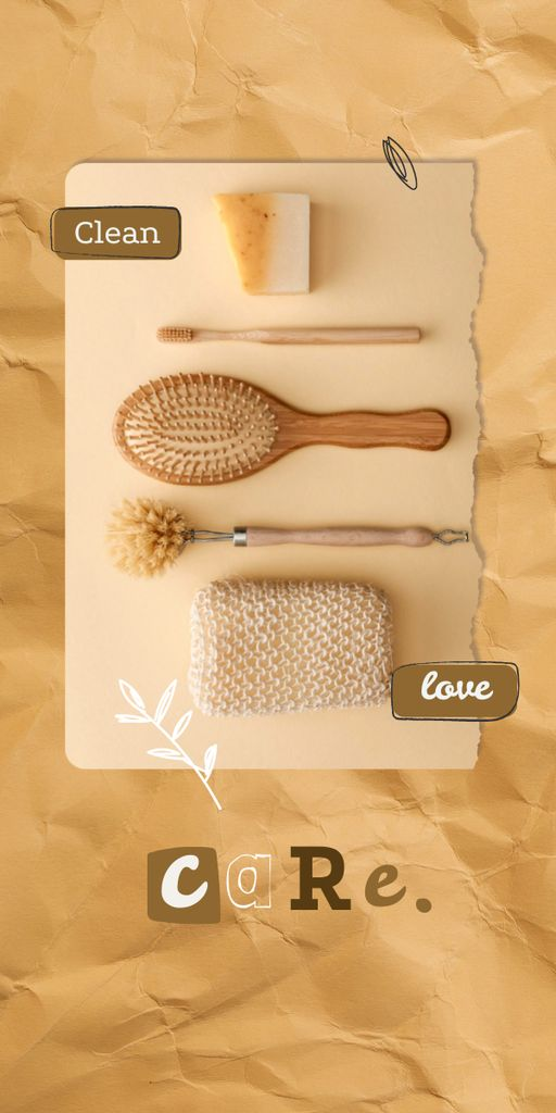 Plantilla de diseño de Eco Concept with Wooden Brushes in Basket Graphic