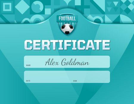 Sport Achievement Confirmation with Soccer Ball Certificate Design Template