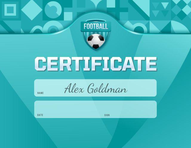 Sport Achievement Confirmation with Soccer Ball Certificate Modelo de Design
