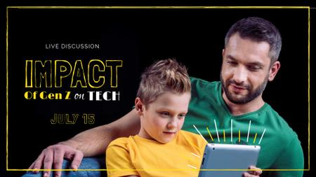 Technology Event Ad with Father and Son using tablet FB event cover Modelo de Design