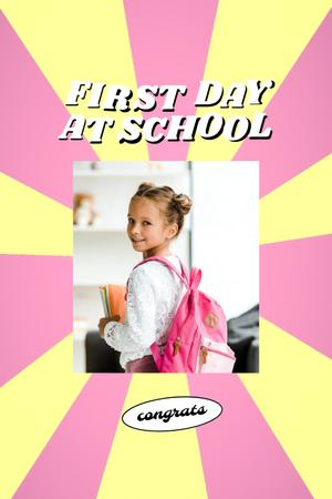 Back to School with Cute Pupil Girl with Backpack Pinterest Modelo de Design