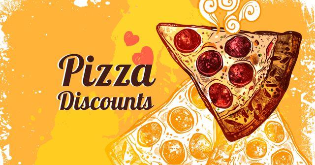Pizza piece for discount offer Facebook AD Modelo de Design