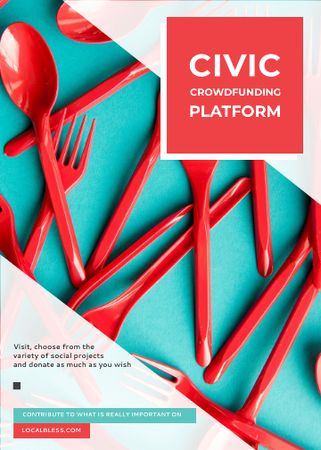 Crowdfunding Platform Red Plastic Tableware Invitation – шаблон для дизайна