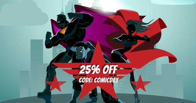 Comic Con Sale Ad with Superheroes Facebook AD Modelo de Design