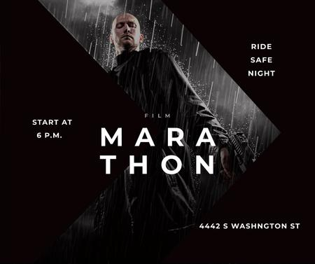 Film Marathon Ad Man with Gun under Rain Facebookデザインテンプレート